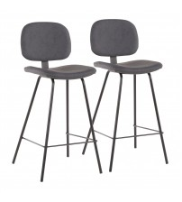 Lumisource B26-NUNZIO BGY2 Industrial Nunzio Counter Stool in Black Metal and Grey Faux Leather - Set of 2