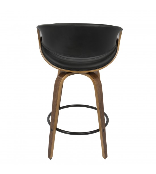 Lumisource B26-SYMP WL+BK Symphony Mid-Century Modern Counter Stool in Walnut and Black Faux Leather