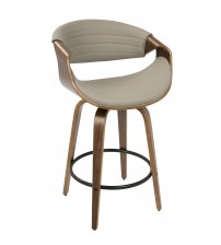 Lumisource B26-SYMP WL+GY Symphony Mid-Century Modern Counter Stool in Walnut and Grey Faux Leather