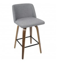 Lumisource B26-TRNO WL+GY Toriano Mid-Century Modern Counter Stool in Walnut and Grey Fabric