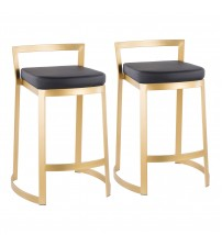 Lumisource B28-FUJDX AUBK Fuji DLX Contemporary/Glam Counter Stool in Gold Metal and Black Faux Leather Cushion - Set of 2
