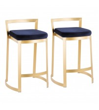Lumisource B28-FUJDX AUVBU Fuji DLX Contemporary/Glam Counter Stool in Gold Metal and Velvet Blue Cushion - Set of 2