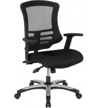 Flash Furniture BL-LB-8817-GG High Back Black Mesh Multifunction Executive Swivel Chair with Molded Foam Seat and Adjustable Arms