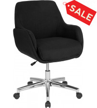 Flash Furniture BT-1172-BLK-F-GG Rochelle Home and Office Upholstered Mid-Back Chair in Black Fabric