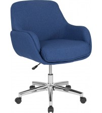 Flash Furniture BT-1172-BLU-F-GG Rochelle Home and Office Upholstered Mid-Back Chair in Blue Fabric
