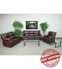 Flash Furniture BT-70597-RLS-SET-BN-GG Harmony Series Brown Leather Reclining Sofa Set
