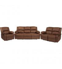 Flash Furniture BT-70597-RLS-SET-BN-MIC-GG Harmony Series Chocolate Brown Microfiber Reclining Sofa Set