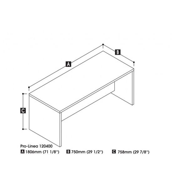 Bestar 120400-1132 Pro-Linea Executive Desk in Deep Grey