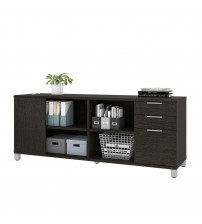 Bestar 120611-1132 Pro-Linea Credenza with three drawers in Deep Grey