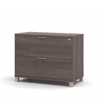 Bestar 120636-1147 Pro-Linea Assembled Lateral File in Bark Grey