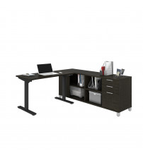Bestar 120857-32 Pro-Linea Height Adjustable L-Desk in Deep Grey