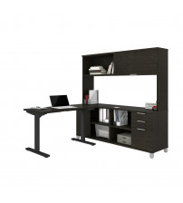 Bestar 120858-32 Pro-Linea Height Adjustable L-Desk with Hutch in Deep Grey