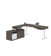Bestar 130850-000035 Pro-Vega Height Adjustable L-Desk in Walnut Grey & White