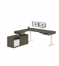 Bestar 130851-000035 Pro-Vega Height Adjustable L-Desk with Dual Monitor Arm in Walnut Grey & White