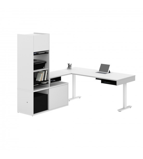 Bestar 130852-000017 Pro-Vega Height Adjustable L-Desk with Storage Tower in White and Black