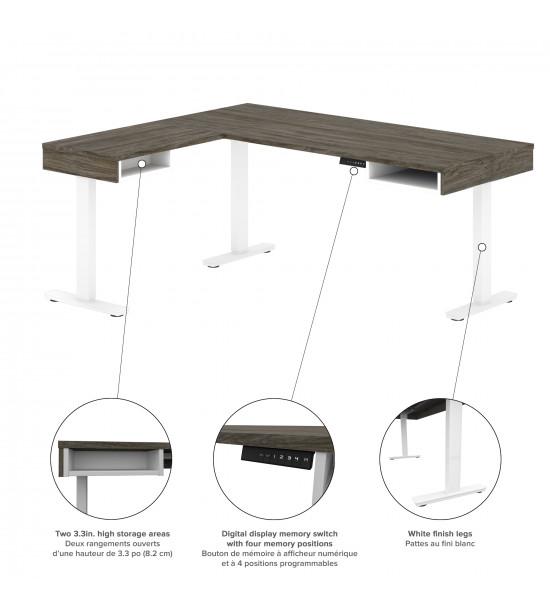 Bestar 130852-000035 Pro-Vega Height Adjustable L-Desk with Storage Tower in Walnut Grey & White