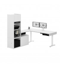 Bestar 130853-000017 Pro-Vega Height Adjustable L-Desk with Storage Tower & Dual Monitor Arm in White and Black