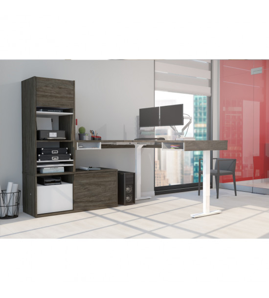 Bestar 130853-000035 Pro-Vega Height Adjustable L-Desk with Storage Tower & Dual Monitor Arm in Walnut Grey & White