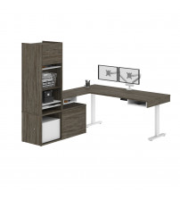 Bestar 130853-000035 Pro-Vega Height Adjustable L-Desk with Storage Tower & Dual Monitor Arm in Walnut Grey & White