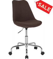 Flash Furniture CH-152783-BN-GG Aurora Series Mid-Back Brown Fabric Task Chair with Pneumatic Lift and Chrome Base