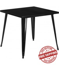 Flash Furniture CH-51040-29-BK-GG 31.75'' Square Black Metal Indoor-Outdoor Table