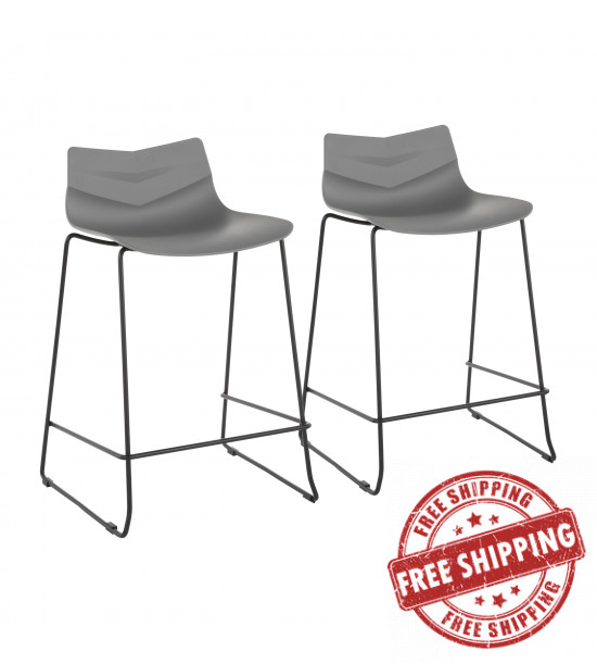 Lumisource CS-ARROW BK+GY2 Arrow Contemporary Counter Stool in Black and Grey - Set of 2