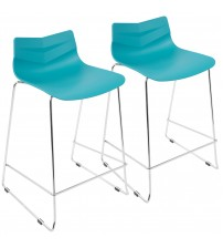 Lumisource CS-ARROW TQ2 Arrow Contemporary Counter Stool in Turquoise - Set of 2