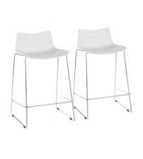 Lumisource CS-ARROW W2 Arrow Contemporary Counter Stool in White - Set of 2
