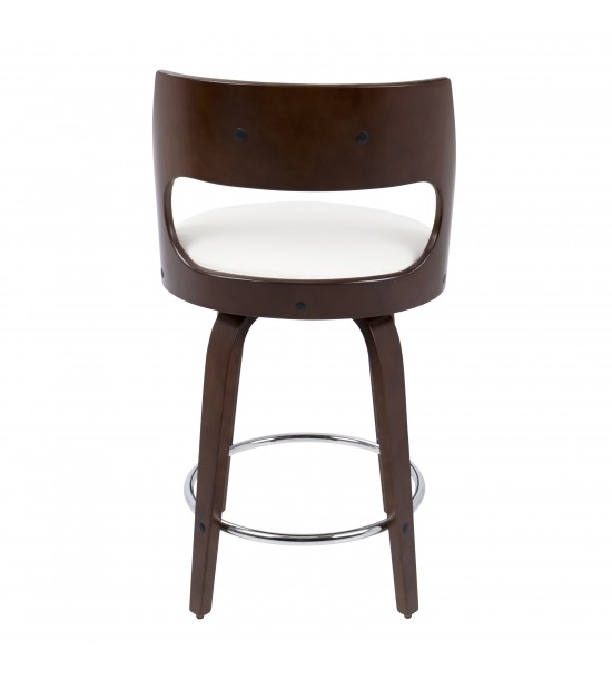 Lumisource CS-CCN CH+W Cecina Mid-Century Modern Counter Stool with Swivel in Cherry And White Faux Leather