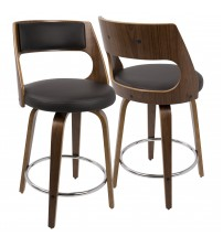 Lumisource CS-CCN WL+BN Cecina Mid-Century Modern Counter Stool with Swivel in Walnut And Brown Faux Leather