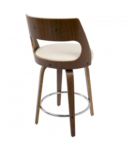 Lumisource CS-CCN WL+CR Cecina Mid-Century Modern Counter Stool with Swivel in Walnut And Cream Faux Leather