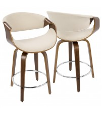 Lumisource CS-CRVNI WL+CR Curvini Mid-Century Modern Counter Stool in Walnut Wood and Cream Fabric