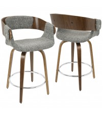 Lumisource CS-ELISA WL+GY Elisa Mid-Century Modern Counter Stool in Walnut and Grey
