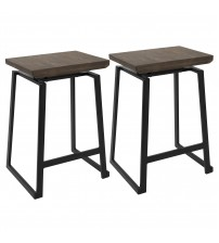 Lumisource CS-GEO BK+BN2 Geo Industrial Counter Stool in Black with Brown Wood Seat - Set of 2