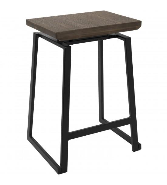 Lumisource CS-GEO BK+BN2 Geo Industrial Counter Stool in Black with Brown Wood Seat - Set of 2