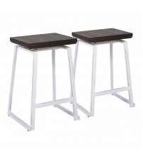 Lumisource CS-GEO VW+E2 Geo Industrial Counter Stool in Vintage White Metal and Espresso Bamboo - Set of 2