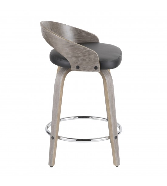 Lumisource CS-GRT LGY+BK Grotto Mid-Century Modern Counter Stool with Light Grey Wood and Black Faux Leather