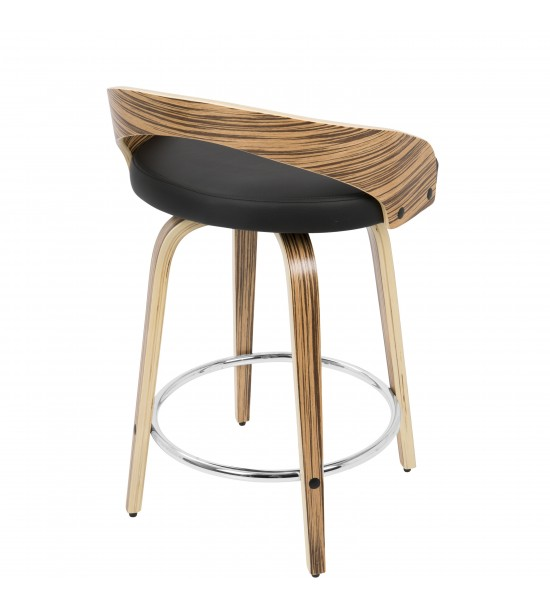 Lumisource CS-JY-GRT ZB+BK Grotto Mid-Century Modern Counter Stool with Swivel in Zebra Wood and Black Faux Leather