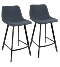 Lumisource CS-OUTLW BK+BU2 Outlaw Industrial Counter Stool in Black with Blue Faux Leather - Set of 2