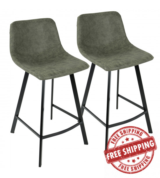 Lumisource CS-OUTLW BK+GN2 Outlaw Industrial Counter Stool in Black with Green Faux Leather - Set of 2