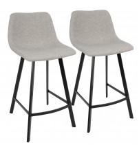 Lumisource CS-OUTLW BK+GY2 Outlaw Industrial Counter Stool in Black with Grey Faux Leather - Set of 2