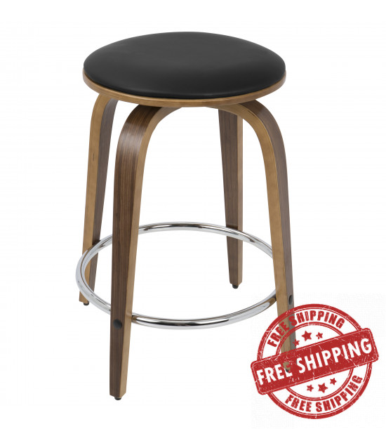 Lumisource CS-PRTCF WL+BN2 Porto Mid-Century Modern Counter Stool in Walnut and Brown Faux Leather with Chrome Footrest - Set of 2