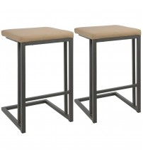 Lumisource CS-RMN GY+CAM2 Roman Industrial Counter Stool in Grey and Camel Faux Leather - Set of 2