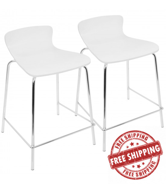 Lumisource CS-STAKWD W2 Woodstacker Contemporary Stackable Counter Stools in White - Set of 2