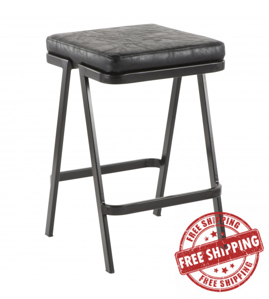 Lumisource CS-SVEN BK+BK Seven Industrial Counter Stool in Black Metal and Black Faux Leather