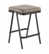 Lumisource CS-SVEN BK+STN Seven Industrial Counter Stool in Black Metal and Grey Cowboy Fabric