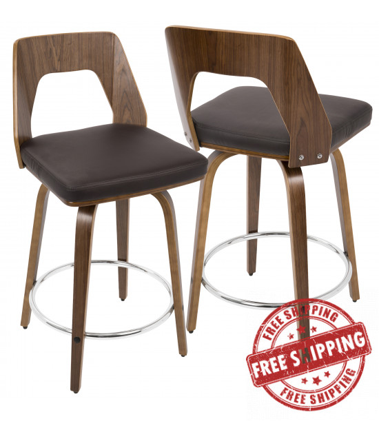 Lumisource CS-TRILO WL+BN Trilogy Mid-Century Modern Counter Stool in Walnut and Brown Faux Leather