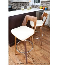 Lumisource CS-TRILO WL+CR Trilogy Mid-Century Modern Counter Stool in Walnut and Cream Faux Leather