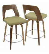 Lumisource CS-TRILO WL+GN Trilogy Mid-Century Modern Counter Stool in Walnut and Green Fabric