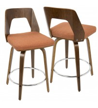 Lumisource CS-TRILO WL+O Trilogy Mid-Century Modern Counter Stool in Walnut and Orange Fabric